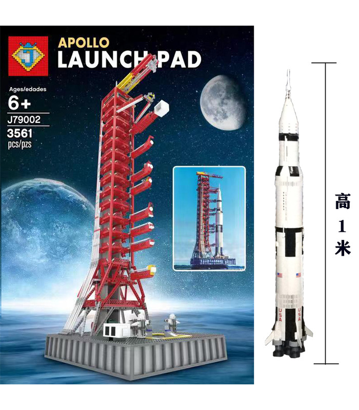 Custom J79002 Apollo Saturn V Launch Pad Tower Building Bricks Toy Set 3561 Pieces