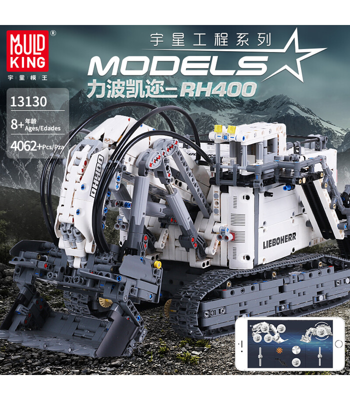 Mould King 13130 Technic Liebherr Terex RH400 Excavator Remote Control Building Blocks