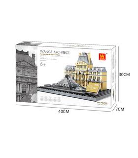 WANGE la Arquitectura del Museo del Louvre El museo del Louvre De París Edificio 4213 Bloques de Construcción de Juguete Set