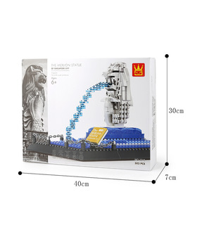 WANGE Architecture Singapour Merlion Statue 4218 Blocs de Construction Jouets Jeu
