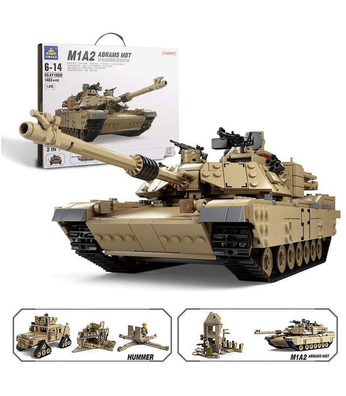 KAZI M1A2 Abrams Tank Hummer 2-in-1 Military Building Blocks Toy Set