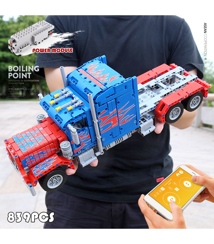 MOLD KING 15001 Peterbilt 389 Muscle Truck Optimus Prime Bausteine-Spielzeug-Set