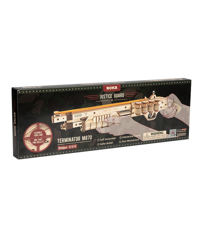 ROKR 3D Puzzle Scatter with Rubber Band Bullet Wooden Gun Building Toy Kit