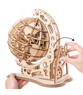 ROKR 3D Puzzle Drehbarer 3D Globus Laserschneiden Holzbau-Spielzeug-Kit