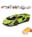 MOULD KING 13057D Lamborghini Sian FKP 37 Green Motor Edition Remote Control Building Blocks Toy Set
