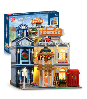MOULD KING 16031 Barber Shop In Town Novatown Building Blocks Toy Set