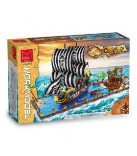 MORK 031002 la Bahía del Botín Barco Pirata Creativo de la Serie Modelo de Edificio de Ladrillos Conjunto de Juguete