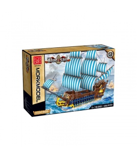 MORK 031011 Blue Sail Pirate Ship Model Building Bricks Toy Set