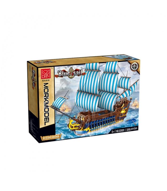 MORK 031011 Blue Sail Pirate Ship Model Building Bricks Toy Set