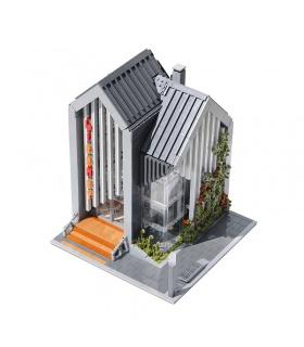 MORK 011001 Moderno Modelo de Biblioteca Edificio de Ladrillos Conjunto de Juguete