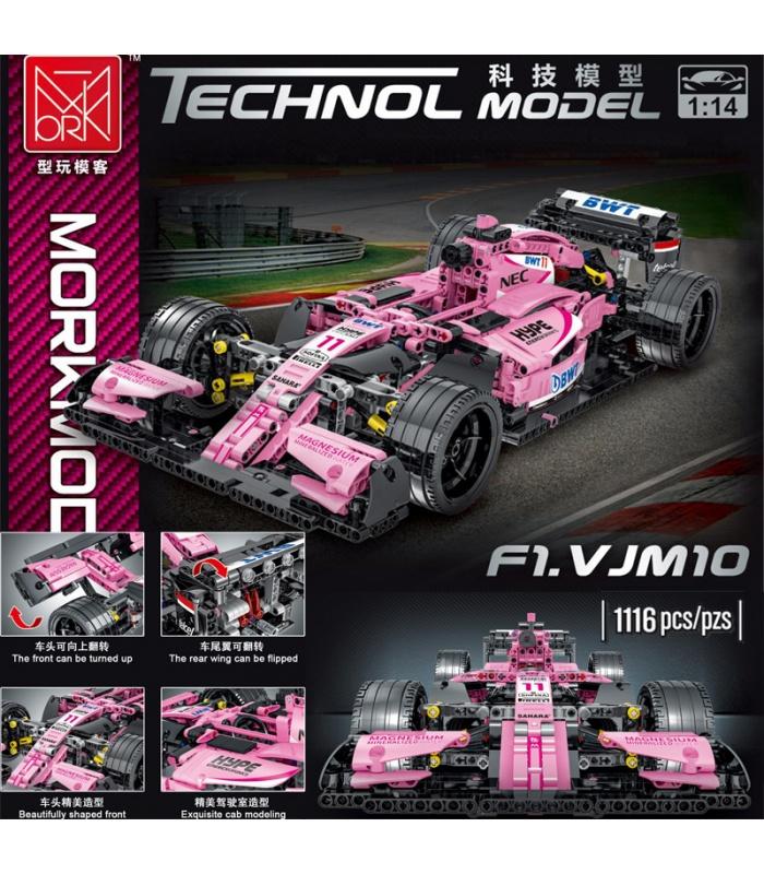 MORK 023009 F1 VJM10 Pink Force India Sports Car Model Building Bricks Toy Set