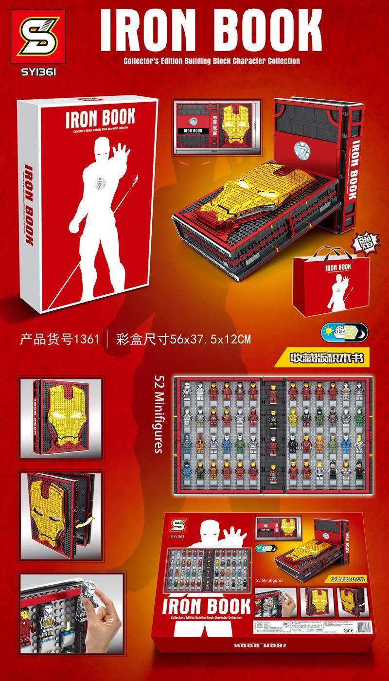 Custom Iron Man Iron Book Memorial Hall of Armor With Minifigures Building Blocks Toy Set 2615 Pieces