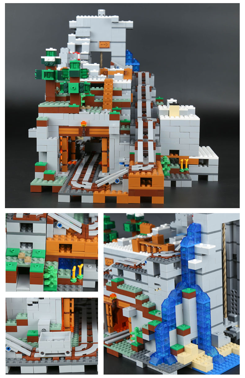 CUSTOM 18032 Minecraft The Mountain Cave Building Bricks Set