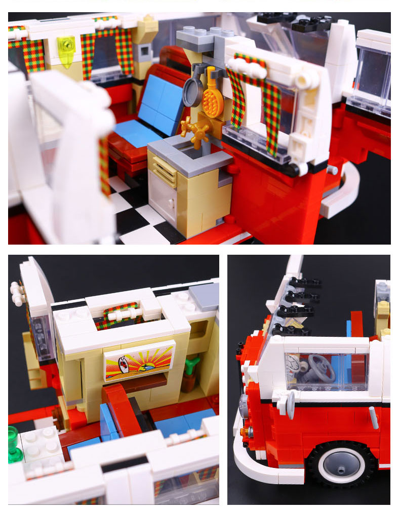 CUSTOM 21001 Building Blocks Toys Volkswagen T1 Camper Van Building Brick Sets