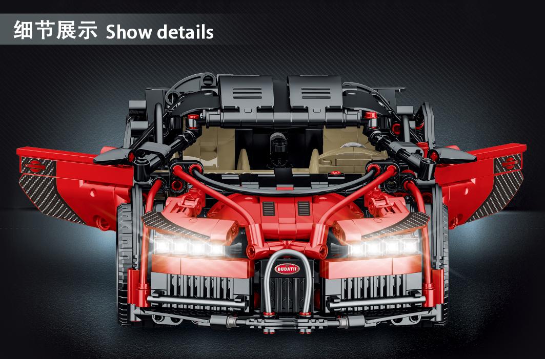 MORK 023001-2 Technology Super Car Red Bugatti Model Building Bricks Toy Set