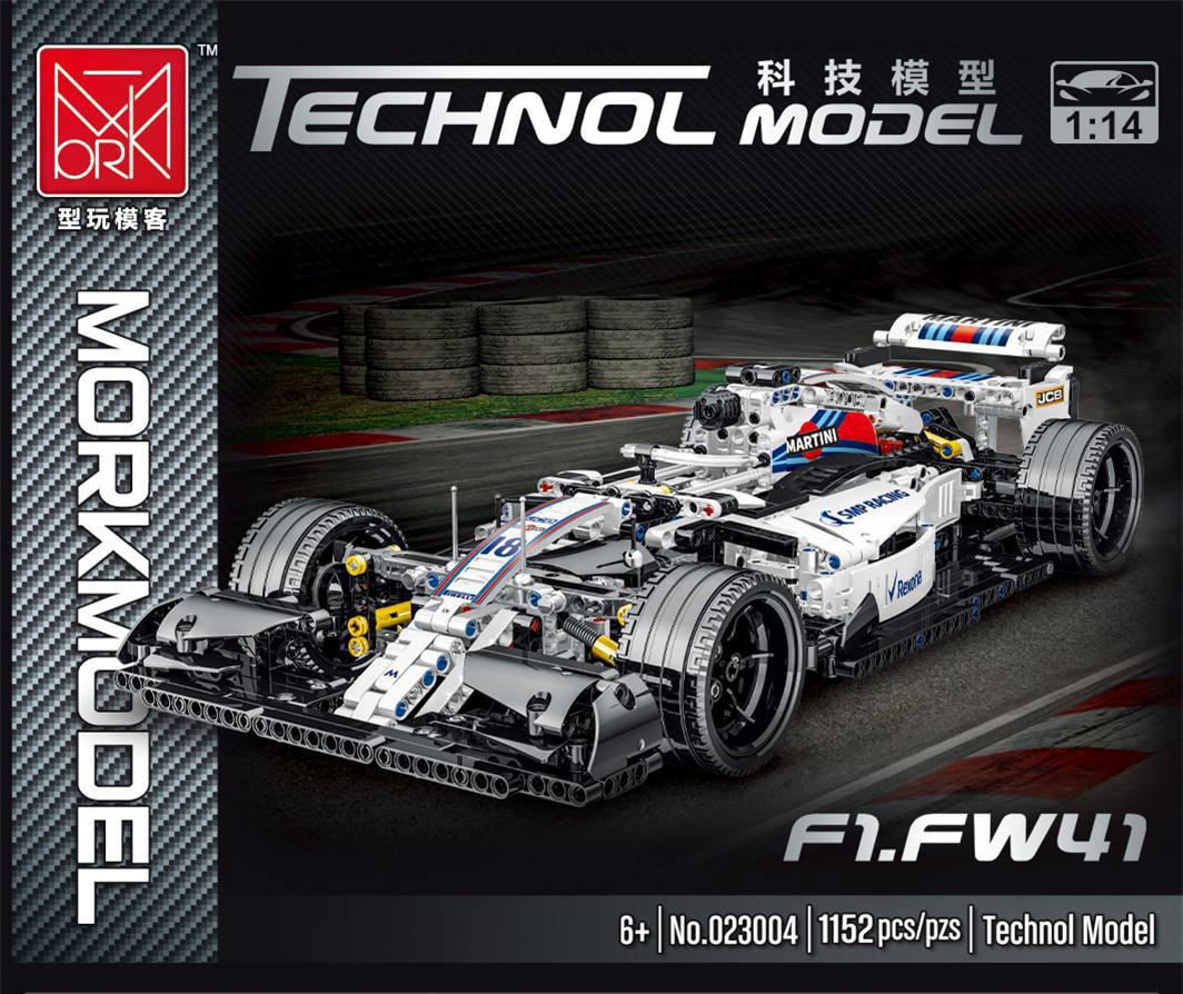 MORK 023004 White Formula Technology Sports Car Model Building Bricks Toy Sett
