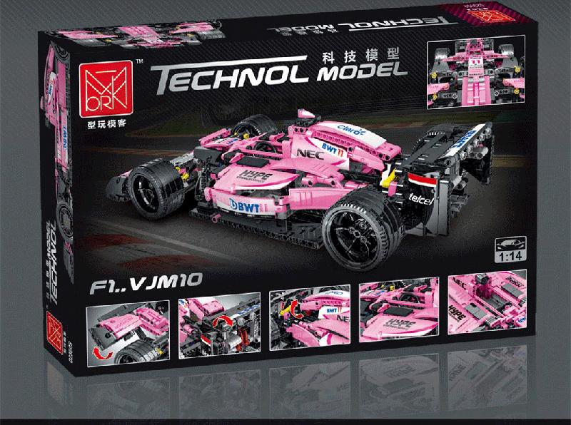 MORK 023009 Pink Force India Sports Car Model Building Bricks Toy Set