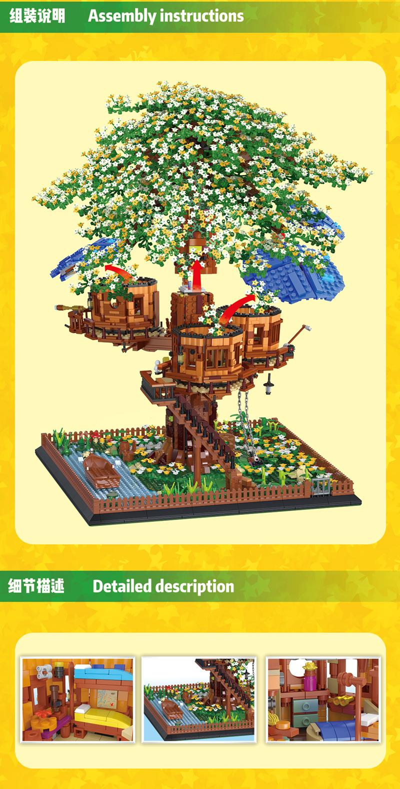 MORK 031004 Creative Series Tree House Model Building Bricks Toy Set