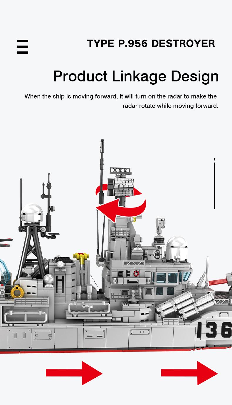 SEMBO 202060 Military Series Type 956 Modern Destroyer Building Blocks Toy Set