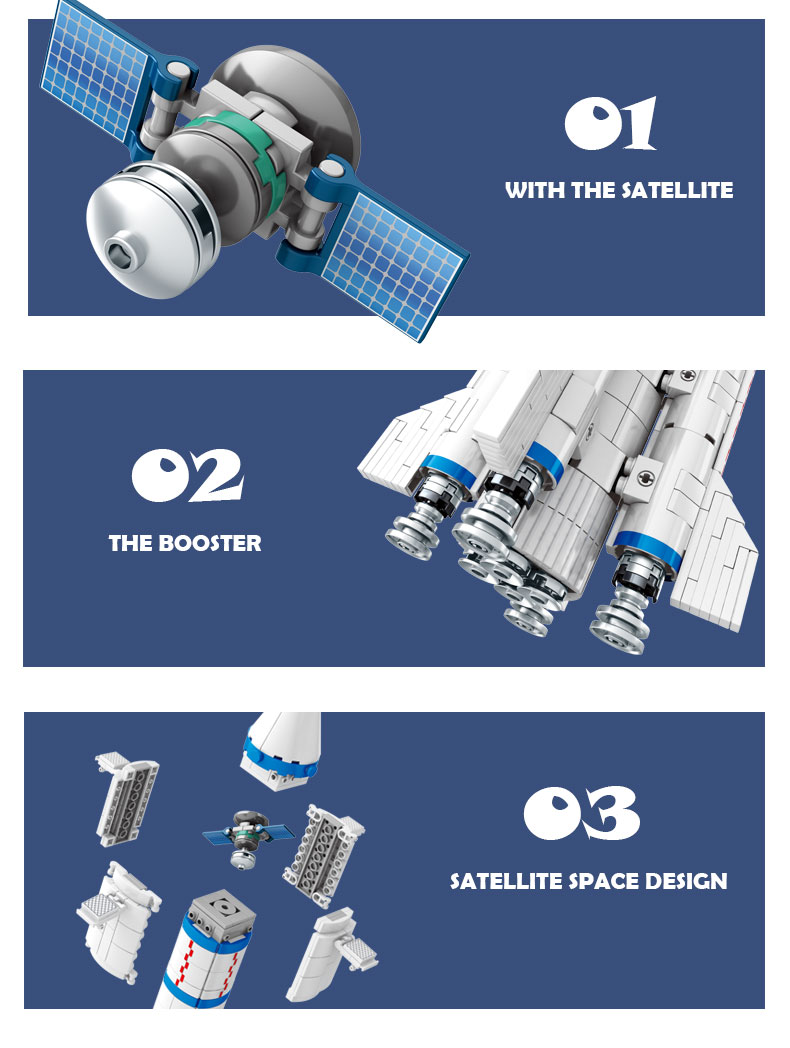 SEMBO 203304 China Aerospace Series Long March 2 Carrier Rocket Building Blocks Toy Set