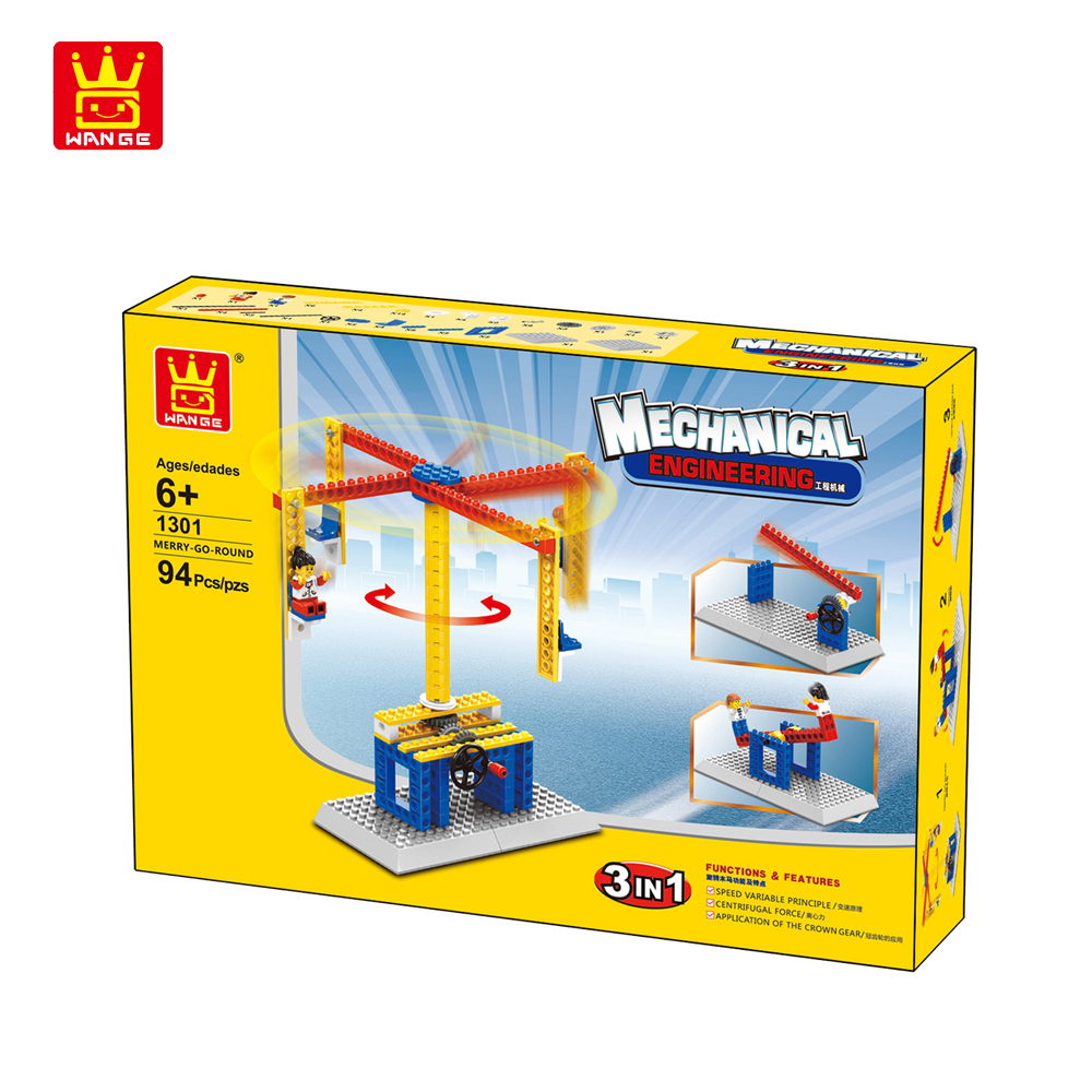 WANGE Mechanical Engineering Carousel engineering manual machinery 1301 Building Blocks Toy Set