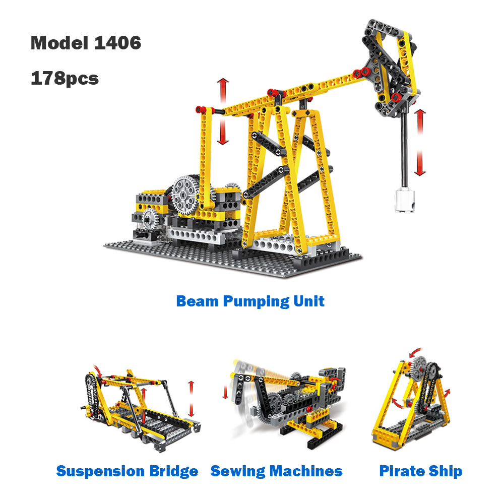 WANGE Mechanical Engineering Liang's pumping unit engineering electric machinery 1406 Building Blocks Toy Set