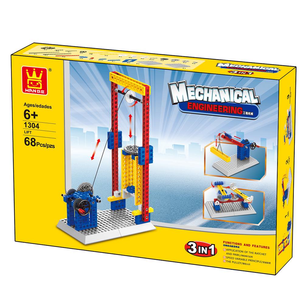 WANGE Mechanical Engineering Lift engineering manual machinery 1304 Building Blocks Toy Set