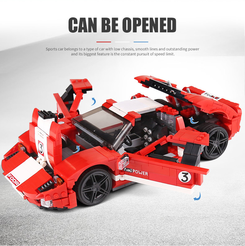 MOULD KING 10001 Red Phanton Fords GT Racing Car Building Blocks Toy Set