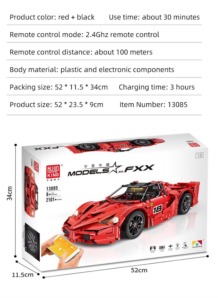 FORM KÖNIG 13085 Ferrari FXX Supercharged V12 Bausteine Spielzeugset