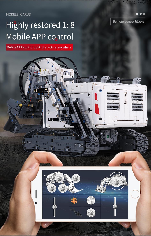 Mould King 13130 Technic Liebherr Terex RH400 Excavator Remote Control Building Blocks Toy Set