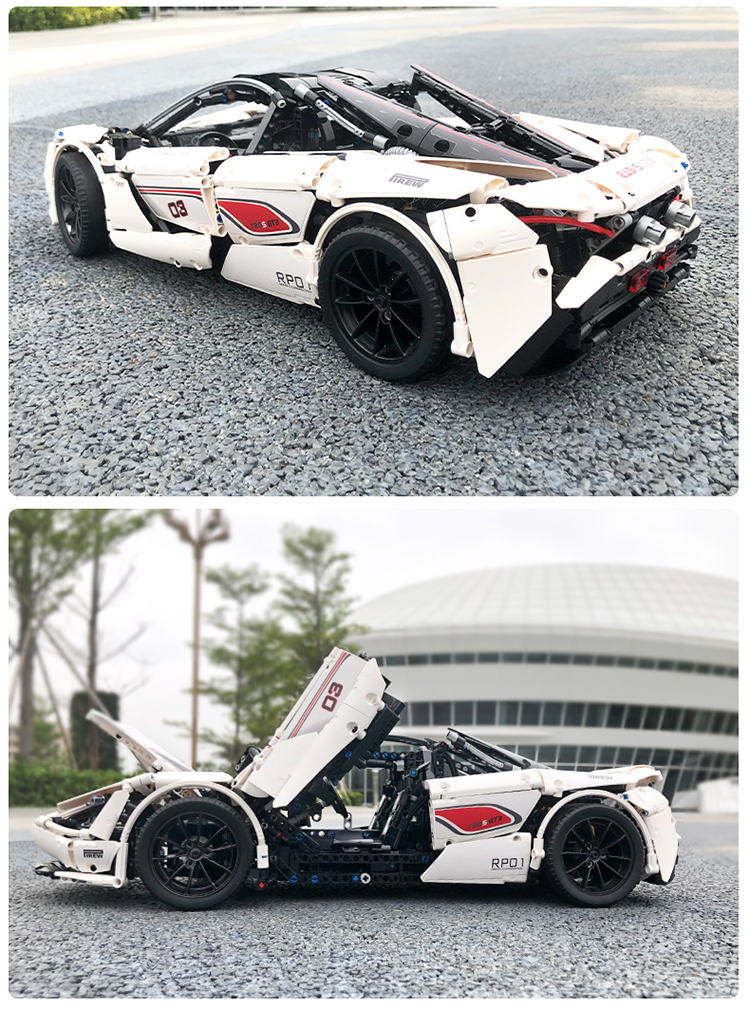 MOULD KING 13145 McLaren 720s White 1-8 Building Blocks Toy Set