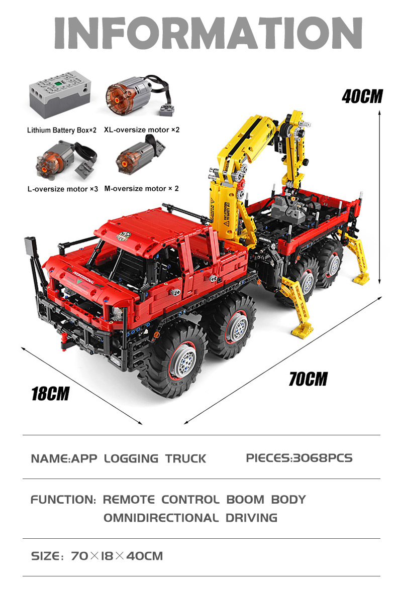 MOULD KING 13146 Articulated 8×8 Offroad Truck by Nico71 Building Blocks Toy Set