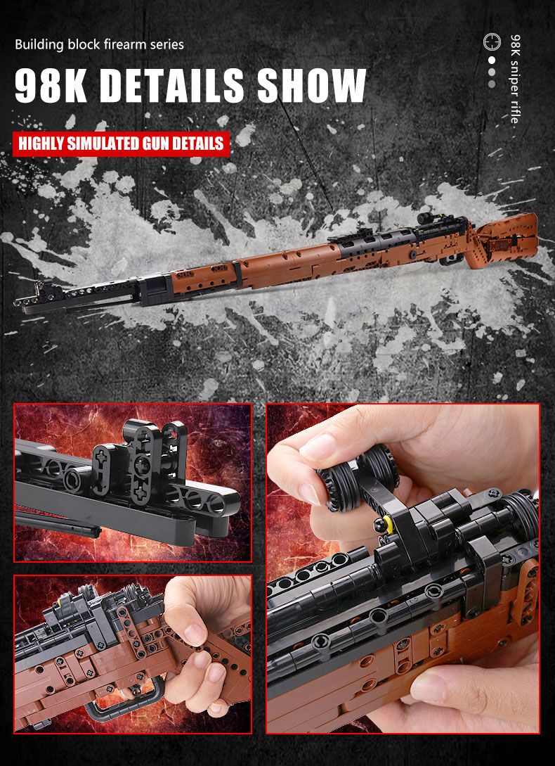 MOULD KING 14002 The Mauseres 98K Sniper Rifle Gun Building Blocks Toy Set