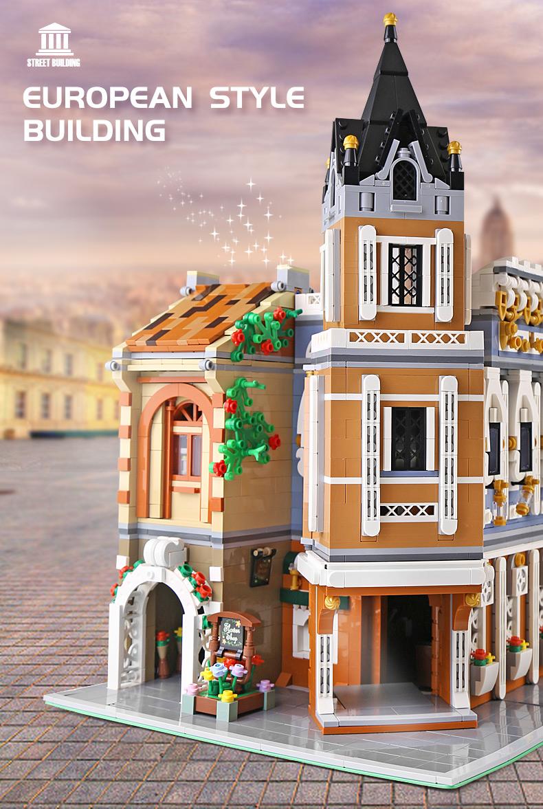 MOLD KING 16026 Street View Serie Kleinstadt Teehaus Bausteine-Spielzeug-Set