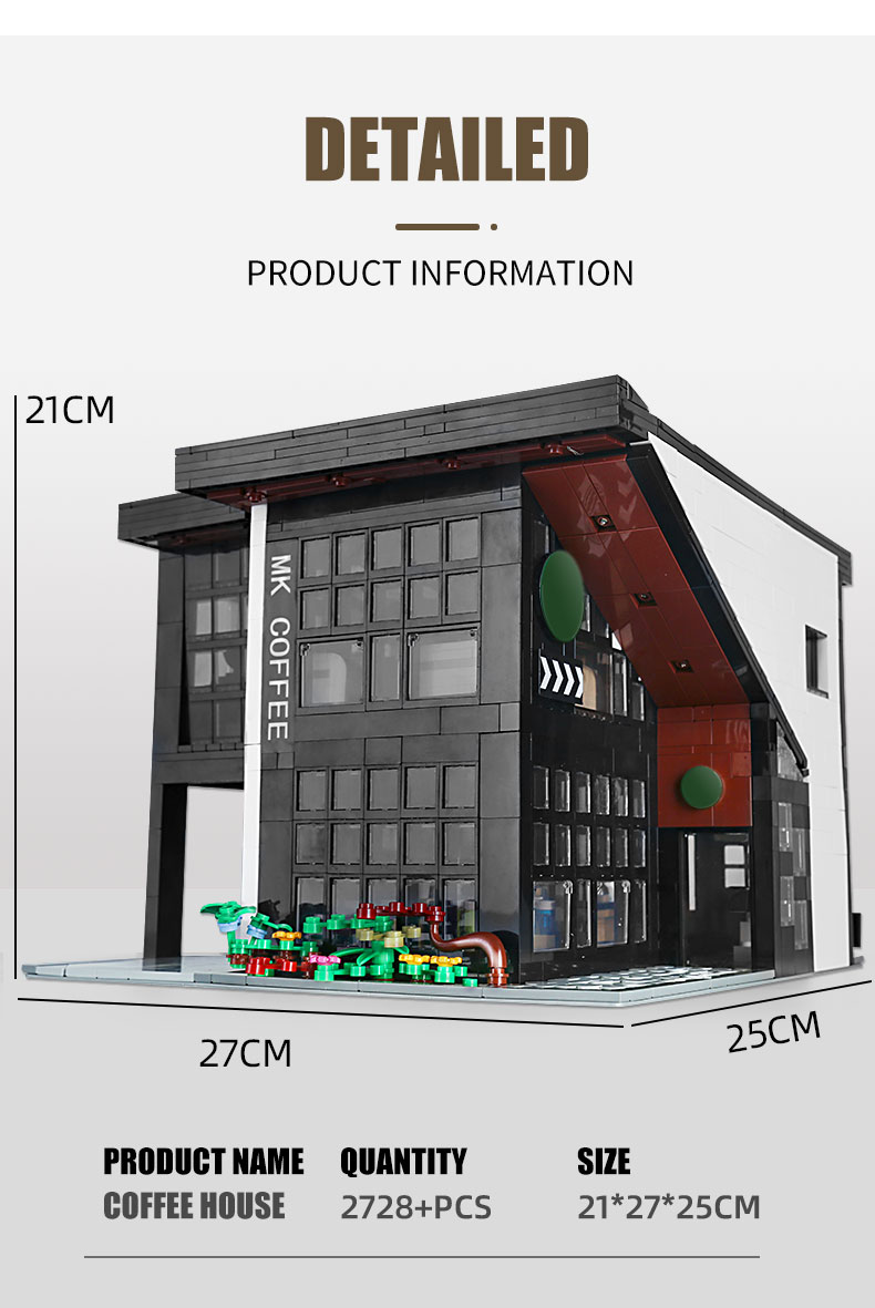 MOULD KING 16036 Modern Cafe Modular Building Blocks Toy Set