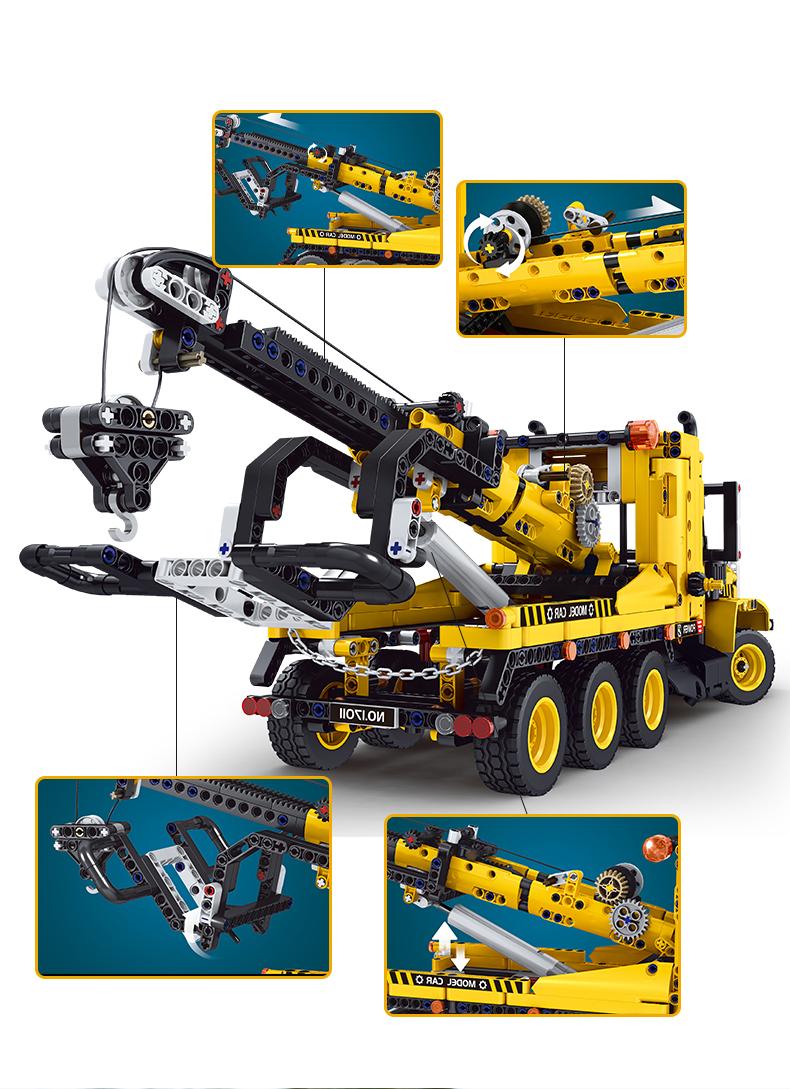 MOLD KING 17011 City Engeineering Schwerlast-Abschleppwagen-Bausteine-Spielzeug-Set