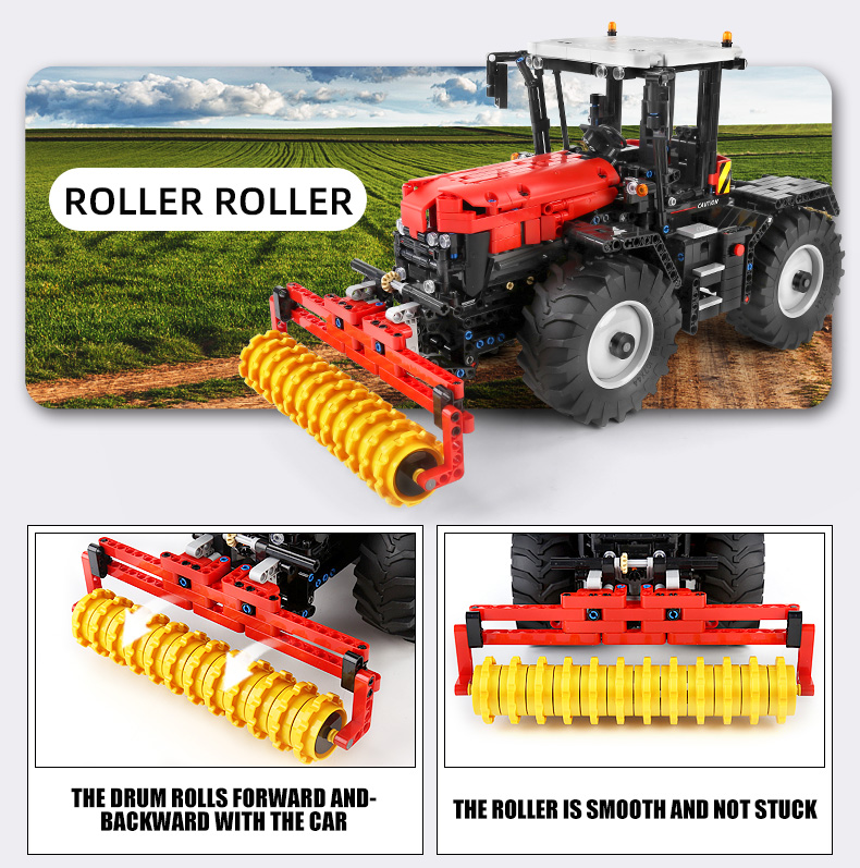 MOULD KING 17020 4-in-1 Yellow Tractor Building Blocks Toy Set