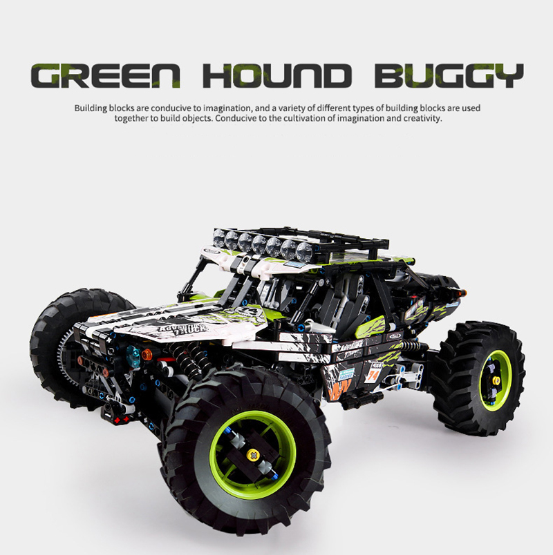 MOULD KING 18002 4WD RC Green Hound Buggy by Didumos Building Blocks Toy Set