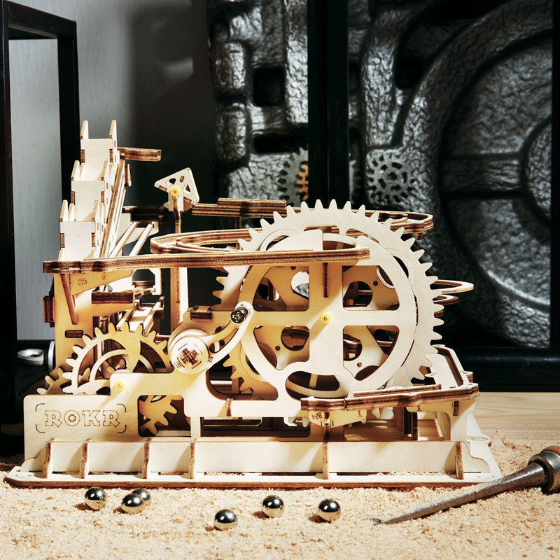ROKR 3D Puzzle 4 Kinds Marble Run Game Wooden Building Toy Kit