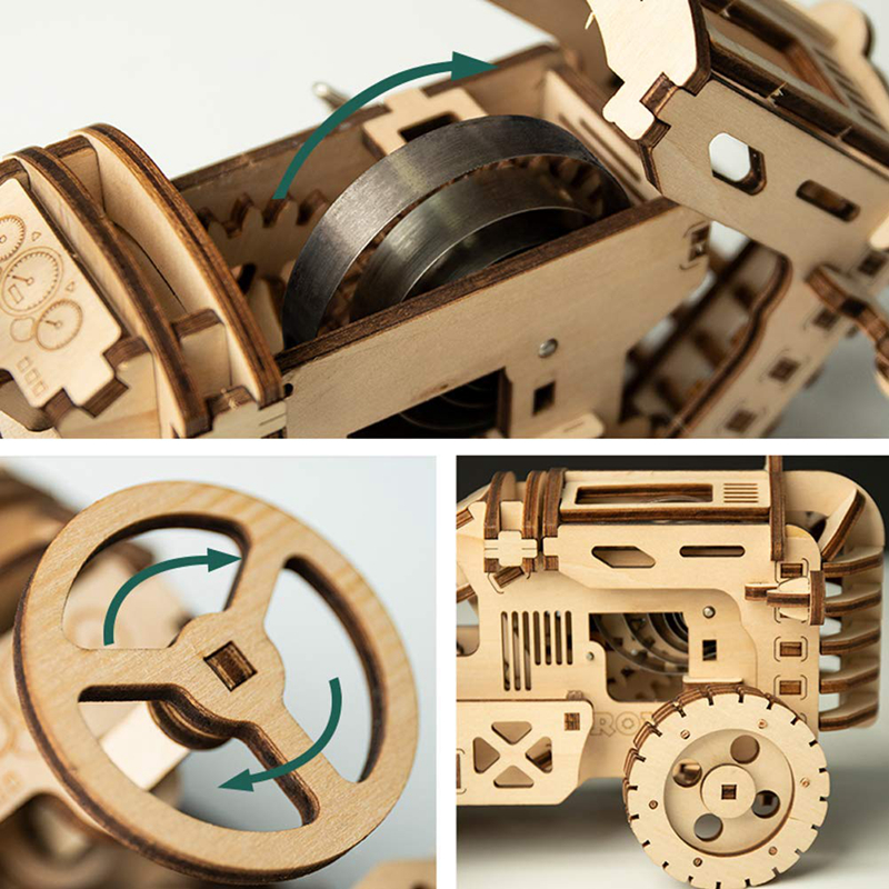 ROKR 3D Puzzle Movable DIY Tractor Wooden Building Toy Kit