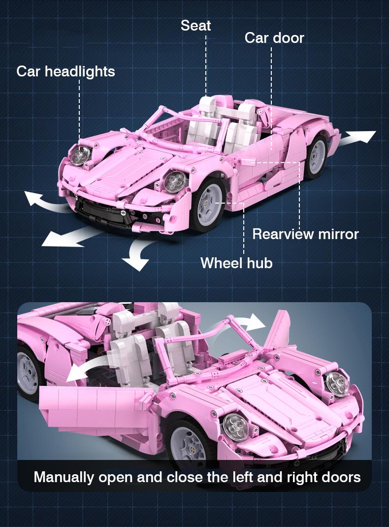 CaDA C61029 Pink Holiday High Tech Famous Racing Building Block Toy Set