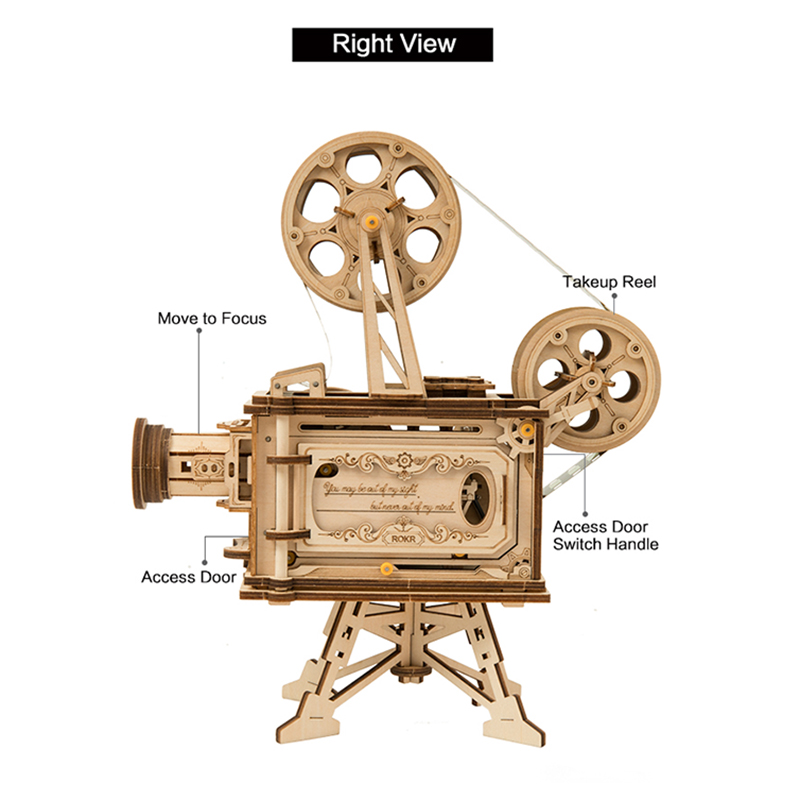 ROKR 3D Puzzle Film Projector Vitascope Wooden Building Toy Kit
