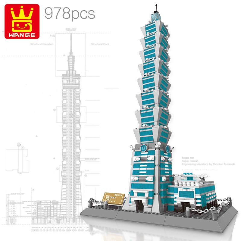 WANGE Architecture series The Taipei 101 3D Model 5221 Building Blocks Toy Set
